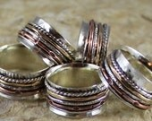 Short Stack Spinner Ring with Sterling, Copper and Brass Bands