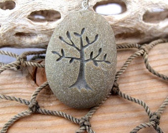 Tree of Life - Nature's Mother necklace - All Natural engraved Beach Stone Pendant Jewelry