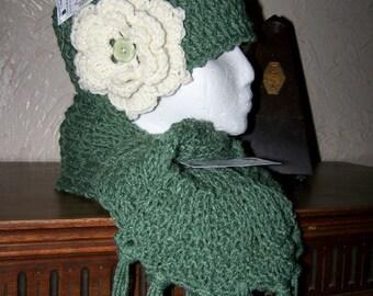 Handmade Crochet Women & Child Flapper Hat w/ Flower