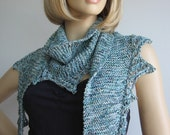 Multicolor Teal/blue/white Garter Stitch Lace Edged Knit Scarf, Womens Scarf, Summer Knit Scarf Blue Shawl