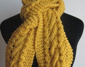 Knit Scarf Sunflower Yellow Cable and Lace Scarf Vegan Scarf Yellow Scarf Knitted Womens Scarf