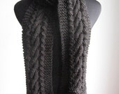 Hand Knit Scarf, Black Cable and Lace Scarf, The Stef Scarf, Black Mens Cable Scarf, Womens Accessories Scarf