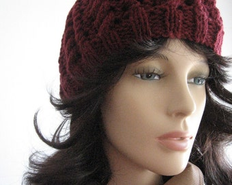 Burgundy Cables and Lace Beanie, The Scarlett Beanie, Knit Womens Hat, Fall Fashion, Womens Accessories,Garnet Hat, Vegan Knit Hat