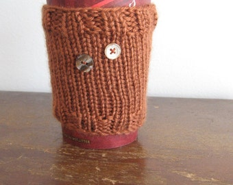 Amber Knit Coffee Cup Cozy with Buttons, Knit Coffee Sleeve, Knit Travel Mug Vegan Cup Cozy