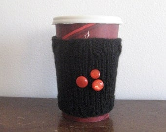 Black Knit Coffee Cup Cozy with 3 Orange Buttons Knit Coffee Sleeve, Mason Jar Cozy
