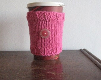 Knit Coffee Sleeve, Mug Cozy, Hot Pink 2-Button Knit Coffee Cup Cozy, Vegan Knits, Eco Friendly Cozy, Knit Cup Cozy