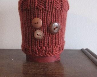 Rust 3-Button Knit Coffee Cozy, Knit Mug Cozy, Rust Mason Jar Sleeve