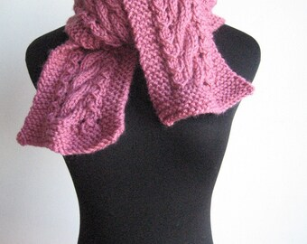 Rose Cable and Lace Vegan Scarf,  The Stef Scarf, Pink Hand Knit Scarf, Women Accessories, Cable Knit Scarf