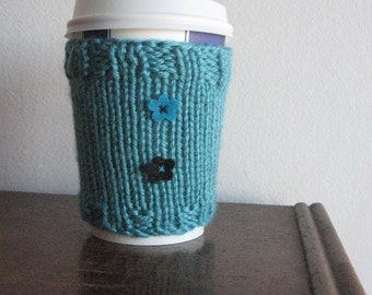 Aqua Felt Flowers Coffee Cup Cozy, Accessories, Knit Coffee Cozy, Coffee Sleeve,  Turquoise Black Flower