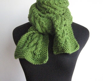 Hand Knit Scarf, Kelly Green Cable and Lace Vegan Scarf, The Stef Scarf, Winter Knitted Scarf, Womens Accessories Green Scarf Winter Scarf