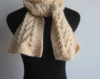Knit Beige Scarf, The Stef Scarf, Cable and Lace Scarf, Winter Accessories, Knitted Scarf, Womens Scarf, Winter Scarf