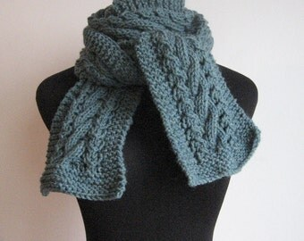 Blue Green Hand Knit Scarf, Cable and Lace Scarf,  Mens Scarf, The Stef Scarf, Womens Accessories, Blue Cable Knit Scarf