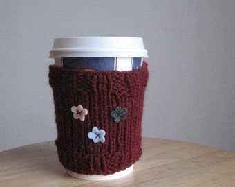 Knit Cup Cozy Burgundy Felt Grey, Light Pink and Light Blue Flowers Knit Coffee Cup Cozy Knit Mason Jar Coffee Sleeve