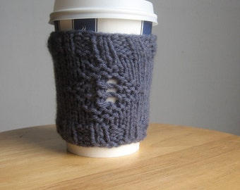 Knit Cup Cozy, Blue Denim Diamond Knit Coffee Cup Cozy, Knit Cup Sleeve, Mason Jar Cozy