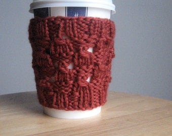 Rust Broken Checkerboard Knit Coffee Cup Cozy Vegan Knit Cup Cozy Knit Coffee Sleeve