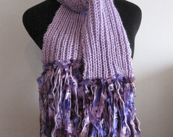 Lavender Knit Scarf with Fringe, Knitted Scarf, Vegan Knits, Lilac Scarf, Womens Accessories, Winter Scarf