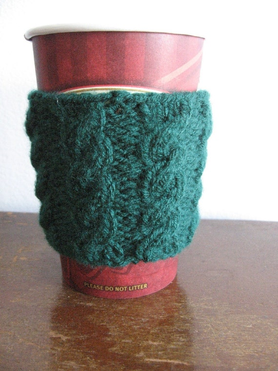Emerald Green Cabled Vegan Coffee Cup Cozy