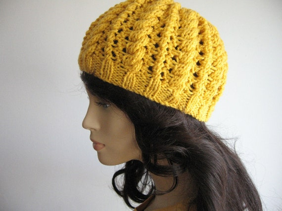 Sunflower Yellow Cables and Lace Beanie Hat Yellow Knitted Hat Skullcap