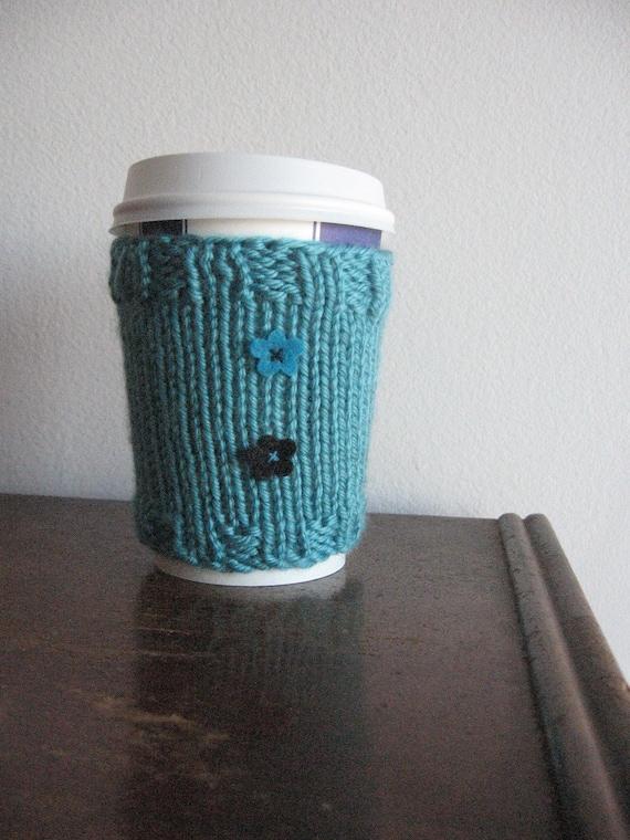 Aqua Felt Flowers Coffee Cup Cozy, Accessories, Knit Coffee Cozy, Coffee Sleeve,  Turquoise Black Flower