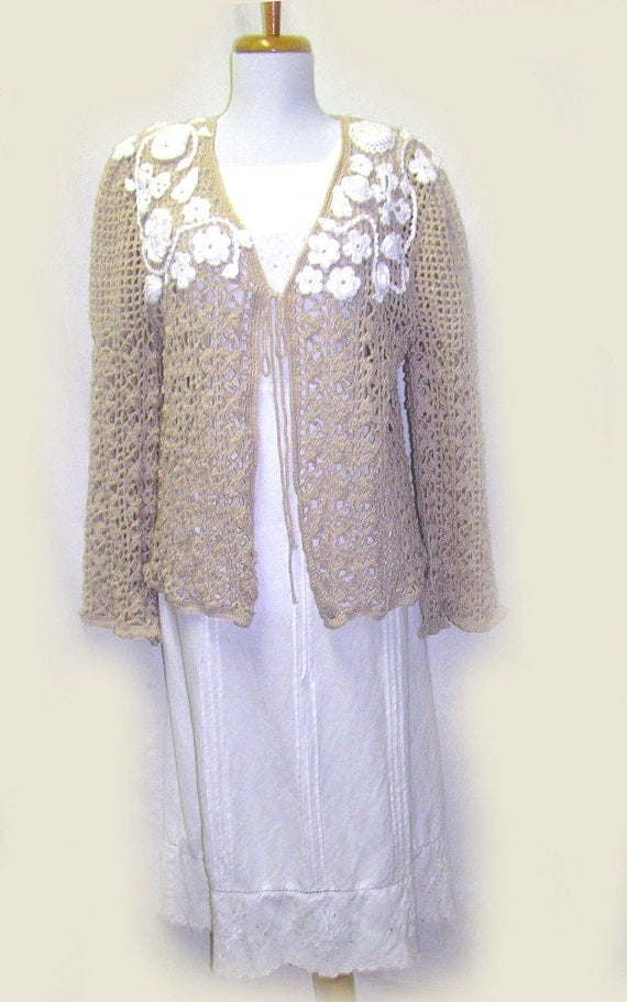Ladies Tan Crocheted Jacket With Beautiful White Flower Embellishments, For Special Occasions, Mother of the Bride Sweater