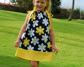 """SALE - """"Pretty Daisies in Navy"""" Pillowcase Dress for Girls - Sundress - Flowers - Floral - Yellow & White - Birthday - Party - Summer - Gift"""