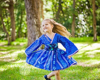 """SALE - """"Blue Beauty"""" Kimono Style Dress for Girls - Royal Blue - Birthday - Party - Theme - Costume - Celebration - Special Occasion - Gift"""