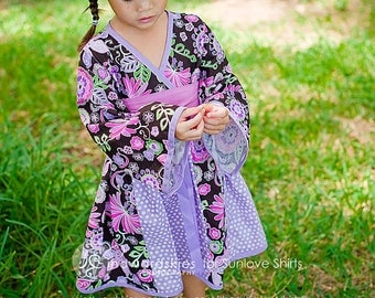 """SALE - Perfect """"Purple Blossoms"""" Kimono Style Dress - Girls - Birthday - Party - Holiday - Special Occasion - Japanese - Floral - Polka Dots"""