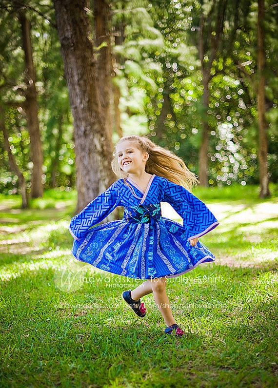 "SALE - ""Blue Beauty"" Kimono Style Dress for Girls - Royal Blue - Birthday - Party - Theme - Costume - Celebration - Special Occasion - Gift"