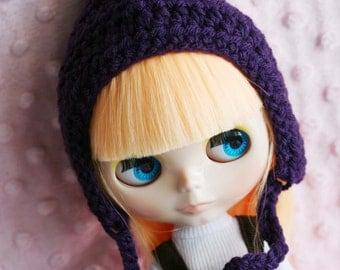 Gnome Helmet for Blythe - Crochet Hat for Blythe - Dark Purple
