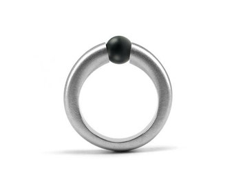 Obsidian Tension Set Ring Stainless Steel
