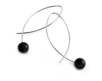 Black Obsidians Wire Earrings Design Stainless Steel