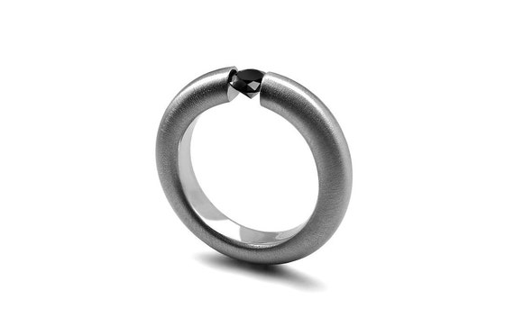 Black Onyx Tension Set Ring Brushed Stainless Steel