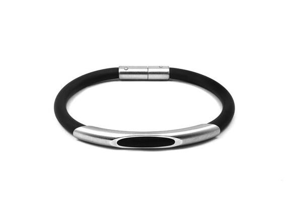Men's Bracelet Stainless Steel and Black Rubber