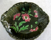Vintage Bowl Majolica Imperial Bonn Astra Pattern Bowl Green Pink Daisy Flowers 1893