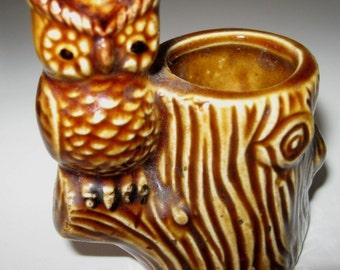 Vintage Owl Toothpick Holder Brown Pottery