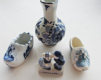 Vintage Delft Collection Kissing Figurine Shoes Pitcher Blue and White Knick Knack