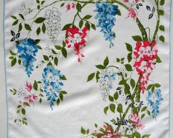 Vintage Floral Handkerchief Cottage Chic Hankie Wisteria Blue Pink Green 1950s
