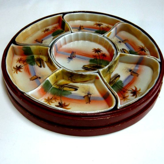 Vintage Nippon Condiment Relish Tray Condiment Serving Sweet Meat Set Lacquer Box Ship Palm Trees