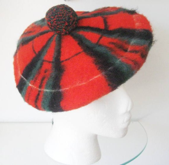 Vintage Wool Beret Scottish Royal Stewart Red Green Blue Tam 1970s