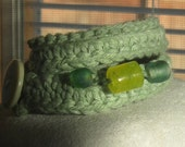 Modern Wrap Green Recyced Eco Cotton Yarn and Sea Glass Bead Crochet Bracelet