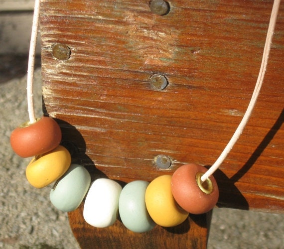 Modern and Minimalist Muted Matte Earth Tones Polymer Clay Chunky Bead Necklace