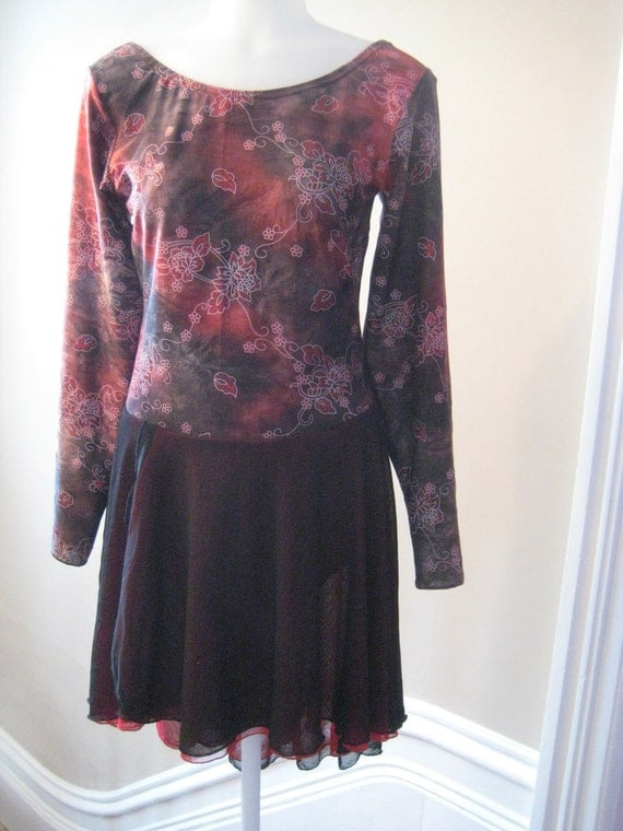 Figure Skating Ice Dance Dress, Ladies Tall size Medium, Dark pink black and grey, lined, with red sparkle