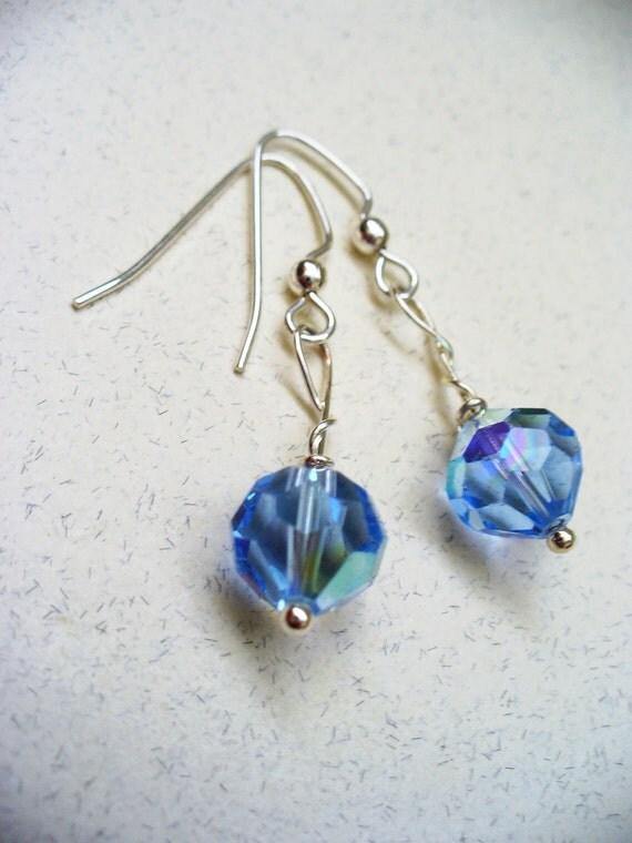 Austrian Crystal Earrings Silver Light Blue Clearance