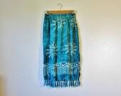 Teal blue 90s celestial sun print fringe skirt