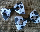 Baby Bows, Cow Print Western Hair Bows,  Bow Tie Hair Bow Set of Two, Infant Cowgirl Bow Tie Hair Bows, Piggy Tail Hairbows. Bows,