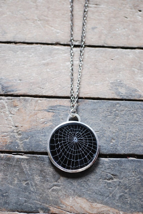 Dollybird Preserved Spider Web Necklace Medium 1 1/2 inches