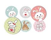 Bunnies luv bunnies no. 510 - 1 inch round - digital sheet (size 8 x11)