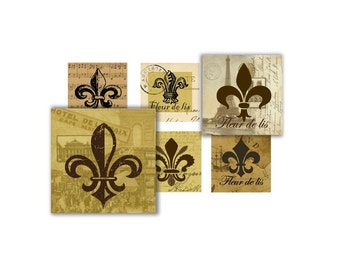 Fleur de lis - 1 inch square - digital collage sheet (size 8 x11) no.425