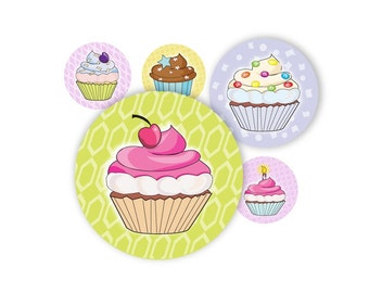 Cupcakes Cute - 1 inch round - digital file no. 426 Instant Download