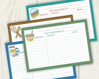 Cooking Theme Recipe Cards LINED 4x6 DIY Printable no. 833 instant download